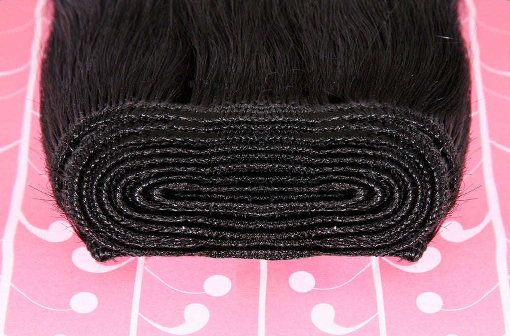 "18"" Dip Dye Deluxe Remy Weave Hair Extensions 140g in #1/18/Pink - Jet Black/Dark Ash Blonde/Pink"