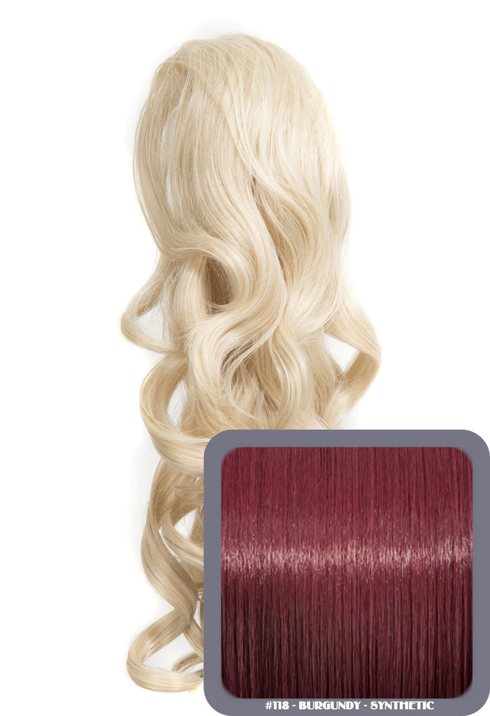 "Blossom 18"" Long Thick Curly Clip-in Synthetic Ponytail in #118 - Burgundy"