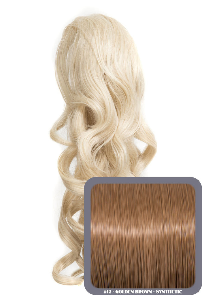 "Blossom 18"" Long Thick Curly Clip-in Synthetic Ponytail in #12 - Golden Brown"