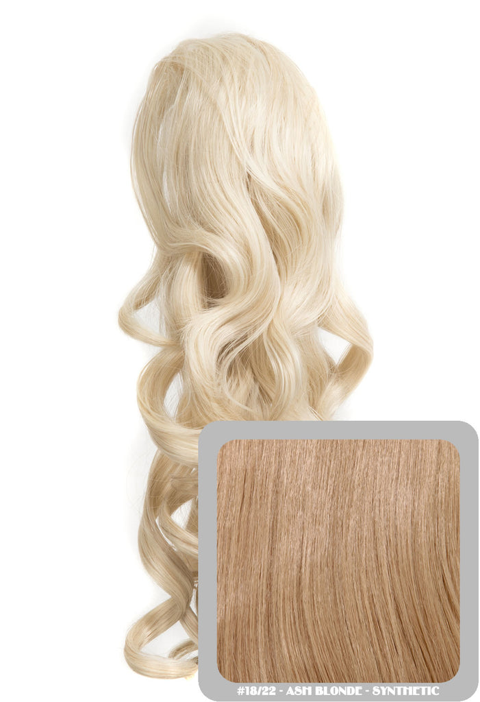 "Blossom 18"" Long Thick Curly Clip-in Synthetic Ponytail in #18/22 - Ash Blonde"