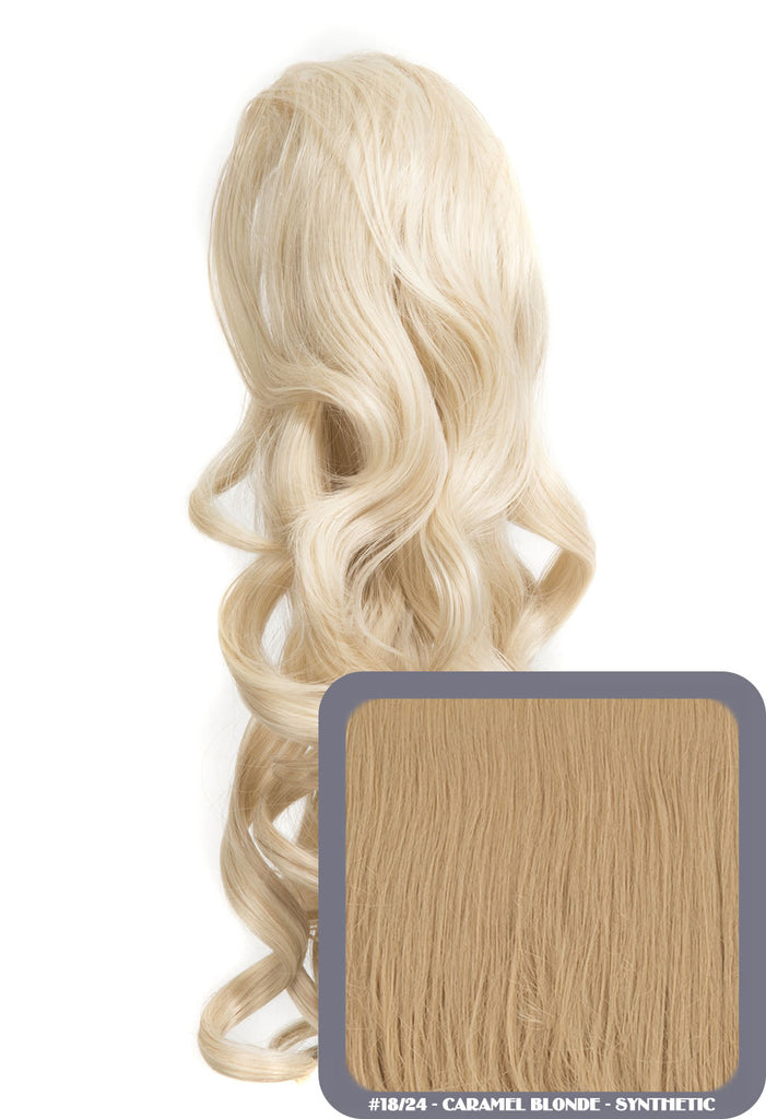 "Blossom 18"" Long Thick Curly Clip-in Synthetic Ponytail in #18/24 - Caramel Blonde"