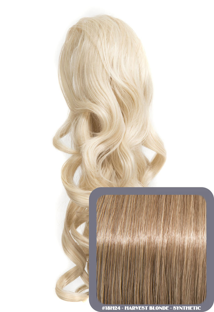 "Blossom 18"" Long Thick Curly Clip-in Synthetic Ponytail in #18H24 - Harvest Blonde"