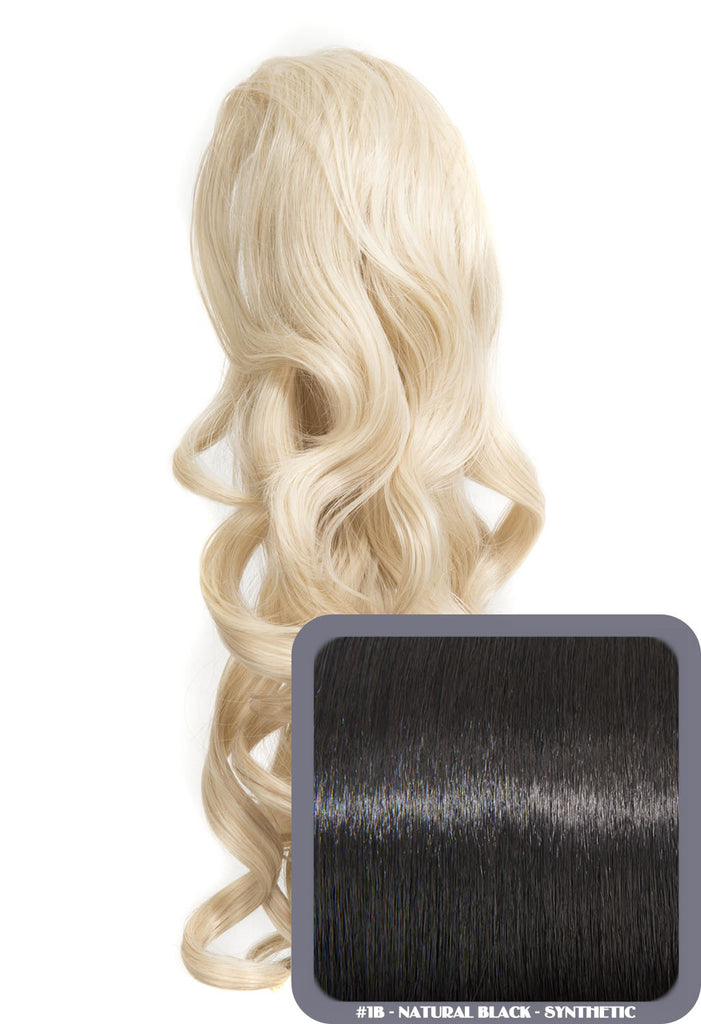 "Blossom 18"" Long Thick Curly Clip-in Synthetic Ponytail in #1B - Natural Black"