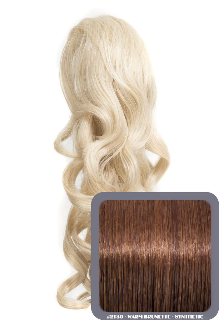 "Blossom 18"" Long Thick Curly Clip-in Synthetic Ponytail in #2/30 - Warm Brunette"