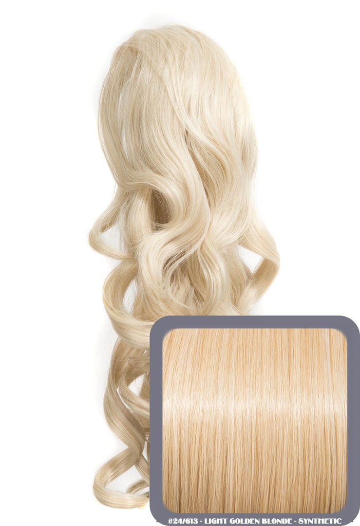 "Blossom 18"" Long Thick Curly Clip-in Synthetic Ponytail in #24/613 - Light Golden Blonde"