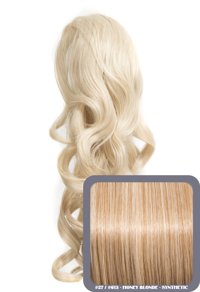 "Blossom 18"" Long Thick Curly Clip-in Synthetic Ponytail in #27/613 - Honey Blonde"