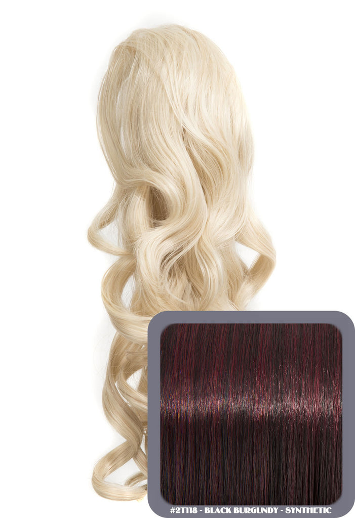 "Blossom 18"" Long Thick Curly Clip-in Synthetic Ponytail in #2T118 - Black & Burgundy"