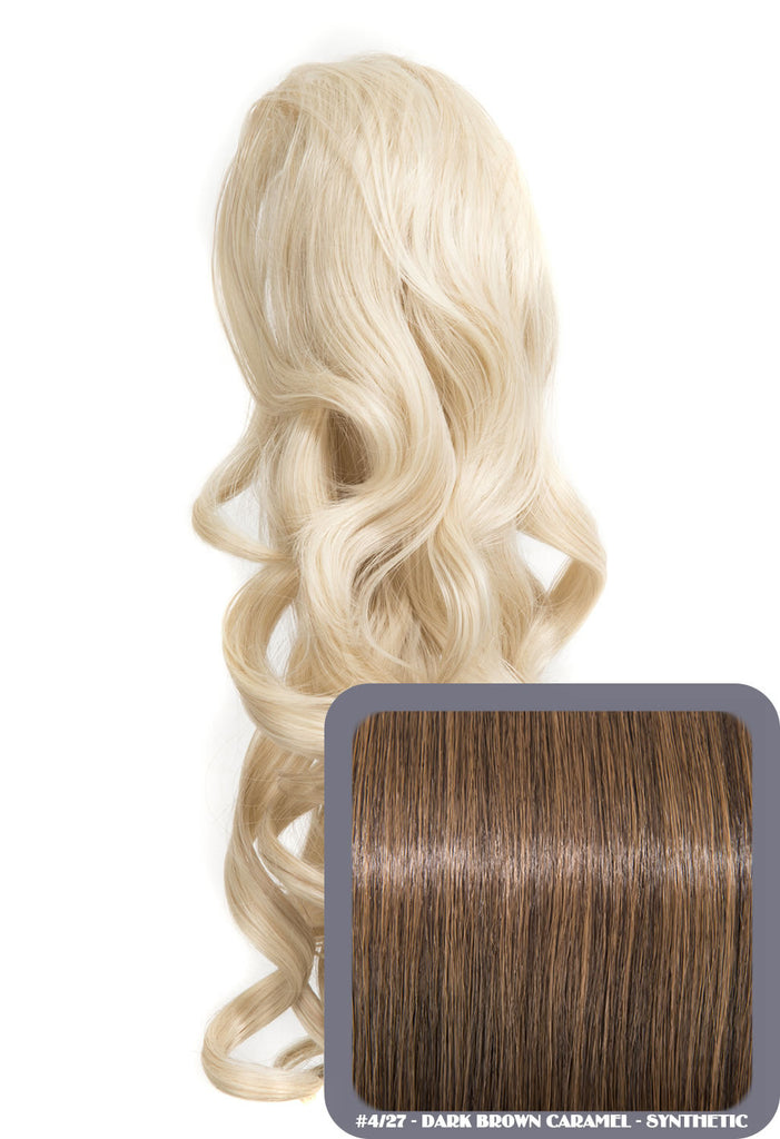 "Blossom 18"" Long Thick Curly Clip-in Synthetic Ponytail in #4/27 - Dark Brown & Caramel"