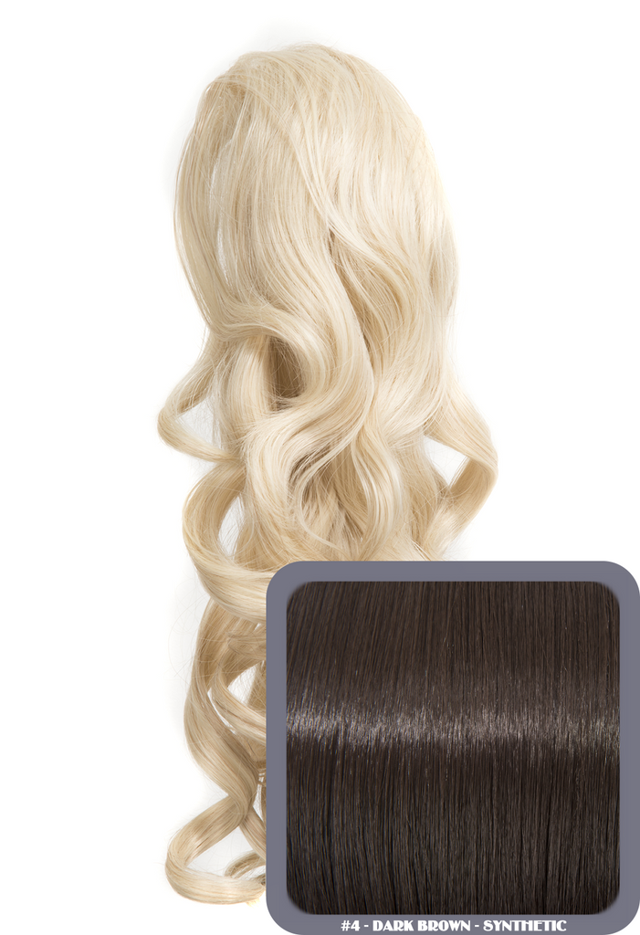 "Blossom 18"" Long Thick Curly Clip-in Synthetic Ponytail in #4 - Dark Brown"