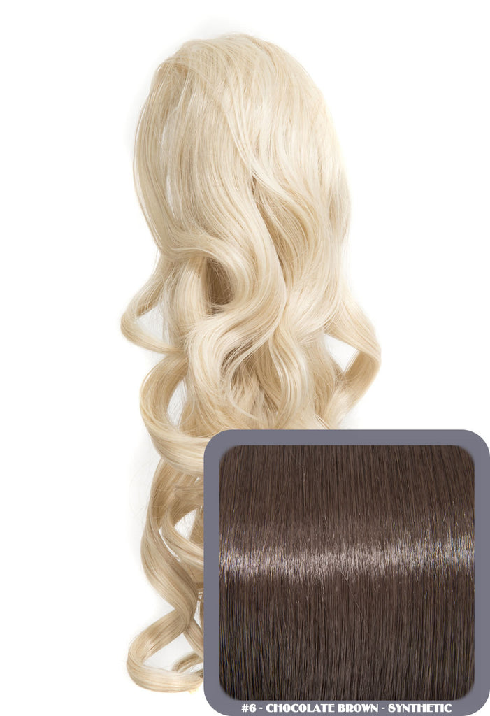 "Blossom 18"" Long Thick Curly Clip-in Synthetic Ponytail in #6 - Chocolate Brown"