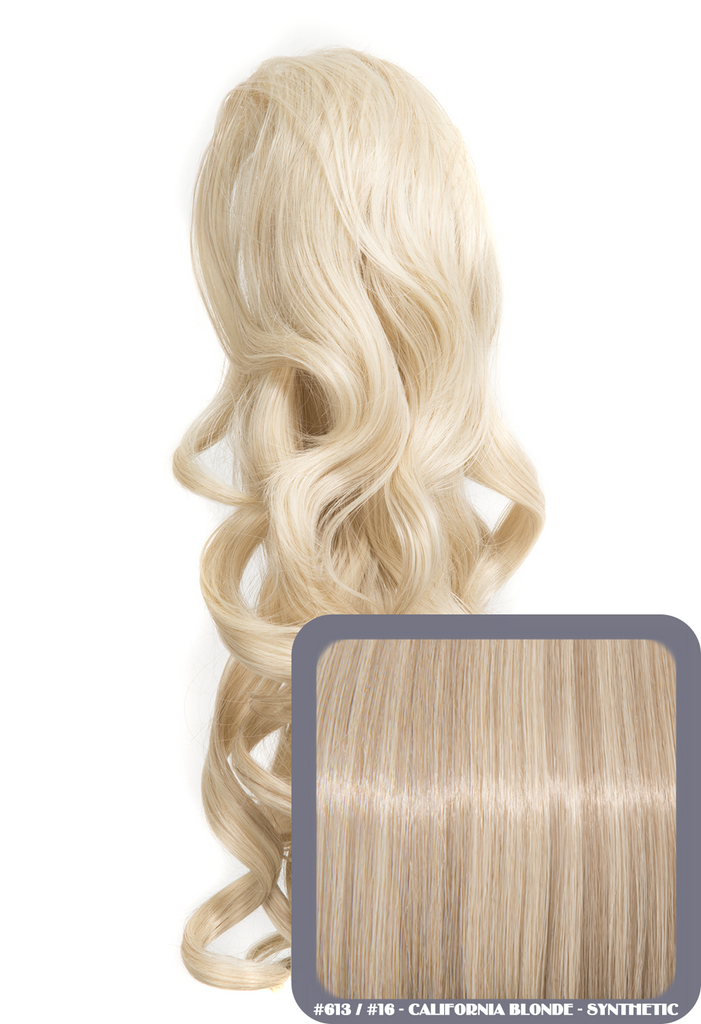 "Blossom 18"" Long Thick Curly Clip-in Synthetic Ponytail in #613/16 - California Blonde"