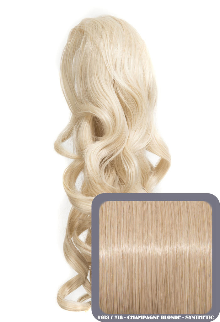 "Blossom 18"" Long Thick Curly Clip-in Synthetic Ponytail in #613/18 - Champagne Blonde"