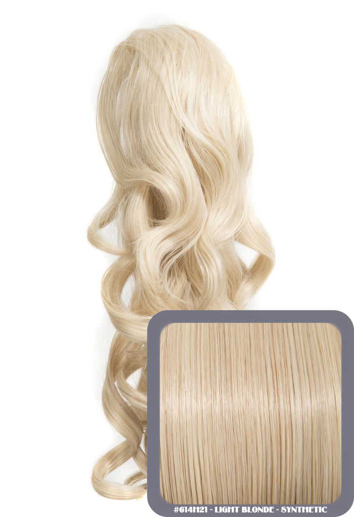 "Blossom 18"" Long Thick Curly Clip-in Synthetic Ponytail in #614H21 - Light Blonde"