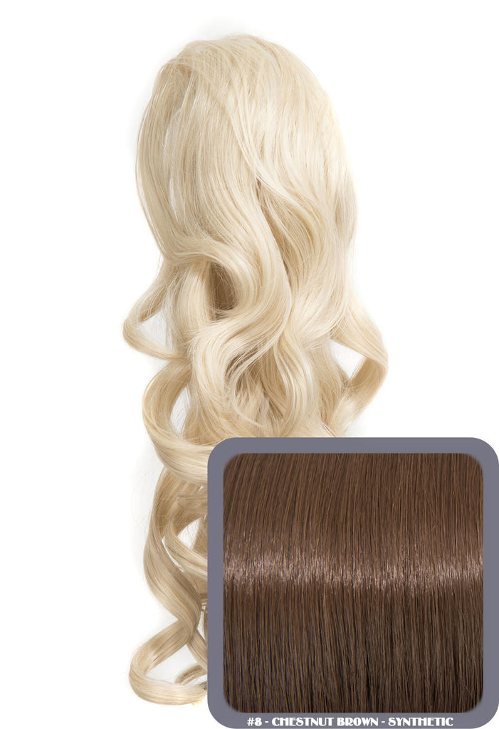"Blossom 18"" Long Thick Curly Clip-in Synthetic Ponytail in #8 - Chestnut Brown"