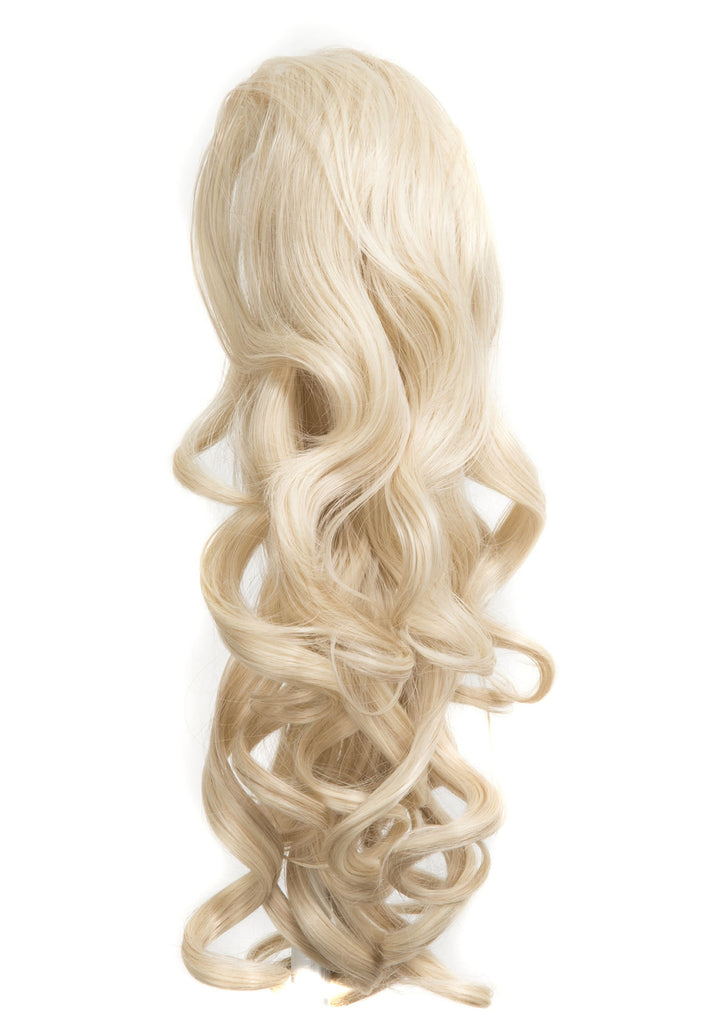 "Blossom 18"" Long Thick Curly Clip-in Synthetic Ponytail in #60 - Bleach Blonde"
