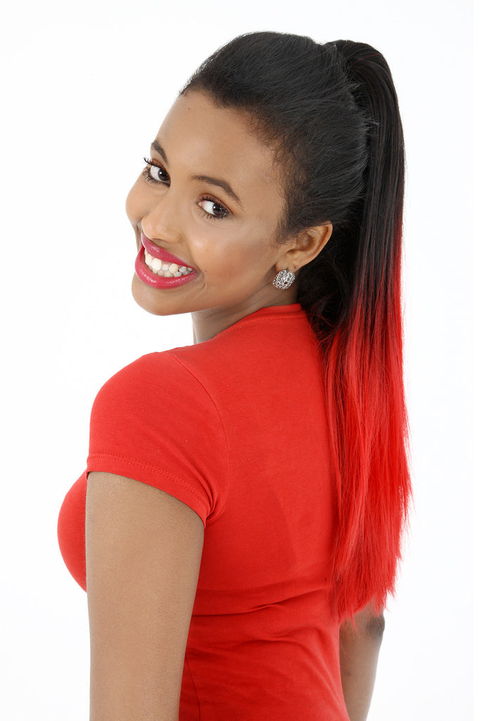 "18"" Dip Dye Deluxe Remy Weave Hair Extensions 140g in #1/Bright Red - Jet Black/Bright Red"