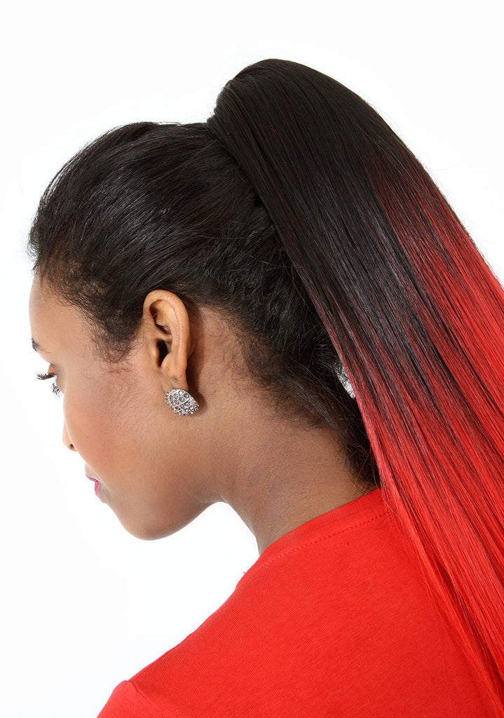 18 Remy Weave Hair Extensions Jet Blackbright Red