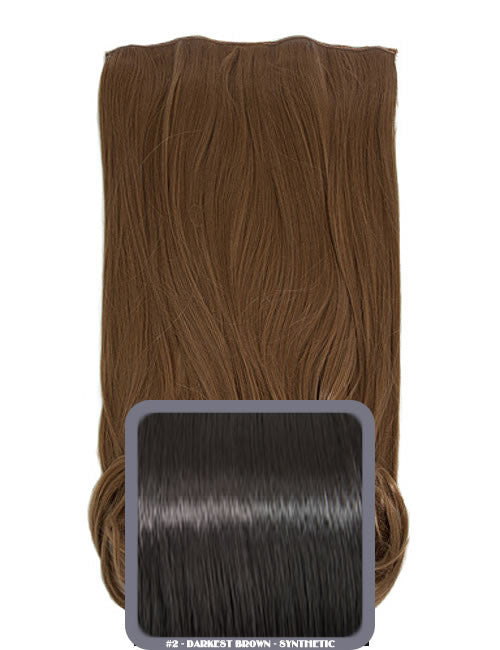 One Piece Curly Heat Resistant Synthetic Hair Extension Darkest Brown (#2)