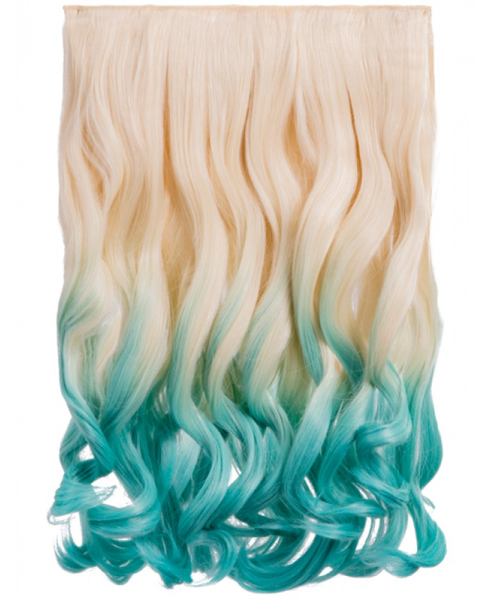 Curly Dip Dye One Piece Synthetic Clip In Hair Extension Blonde/Turquoise
