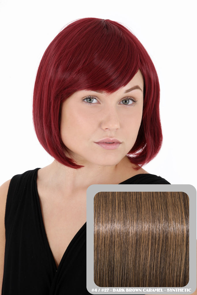 Breeze Classic Bob Full Head Synthetic Wig in #4/27 Dark Brown & Caramel