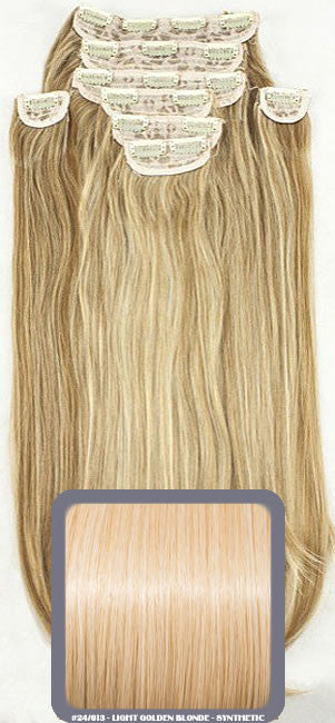 "20"" Heat Resistant Synthetic Full Head Clip In Extensions (Straight) In Light Golden Blonde #24/613"