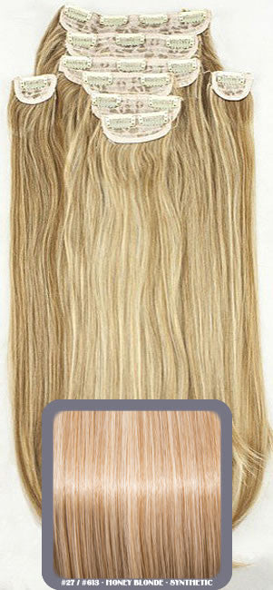 "20"" Heat Resistant Synthetic Full Head Clip In Extensions (Straight) In Honey Blonde #27/613"