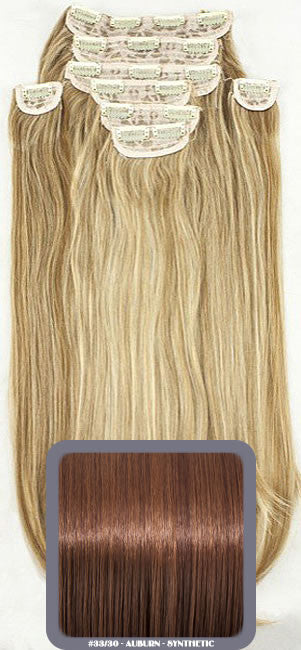 "20"" Heat Resistant Synthetic Full Head Clip In Extensions (Straight) In Auburn #33/30"