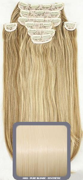 "24"" Half Head Straight Heat Resistant Synthetic Clip In Hair Extensions In Pure Blonde #613"