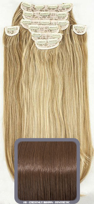 "20"" Heat Resistant Synthetic Full Head Clip In Extensions (Straight) In Chestnut #8"