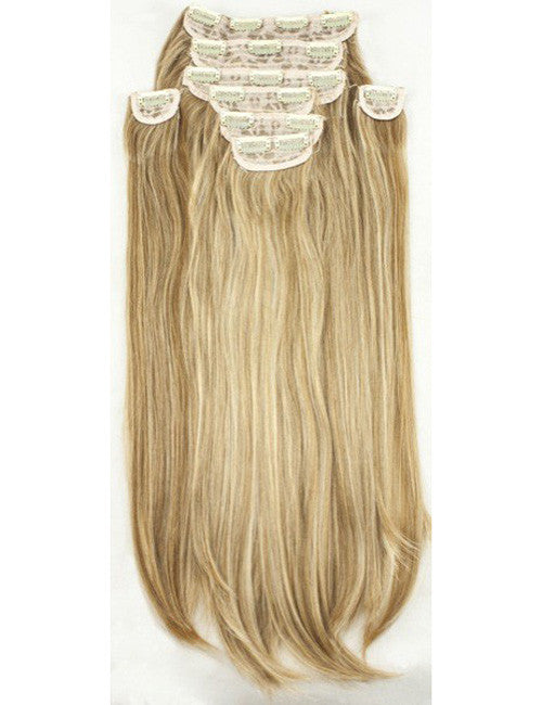 "20"" Heat Resistant Synthetic Full Head Clip In Extensions (Straight) In Champagne Blonde #613/18"