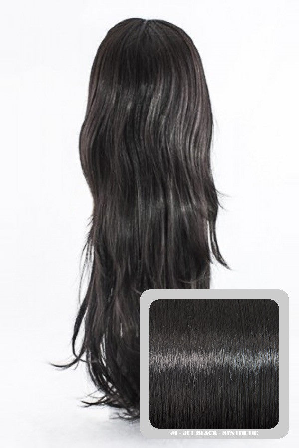 Chloe Long Natural Wavy Synthetic Half Head Wig in Jet Black #1