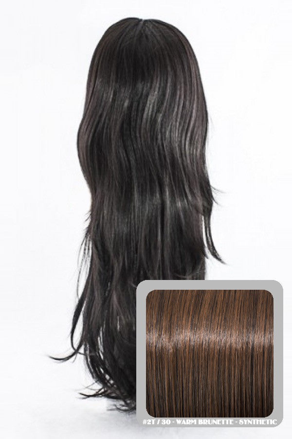 Chloe Long Natural Wavy Synthetic Half Head Wig in Warm Brunette #2/30