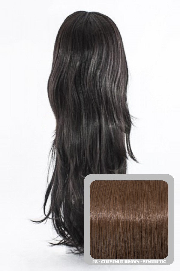 Chloe Long Natural Wavy Synthetic Half Head Wig in Chestnut Brown #8