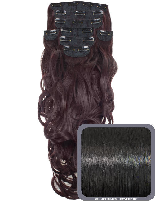 "20"" Heat Resistant Synthetic Full Head Clip In Extensions (Curly) in Jet Black #1"