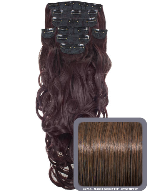 "20"" Heat Resistant Synthetic Full Head Clip In Extensions (Curly) in Warm Brunette #2/30"