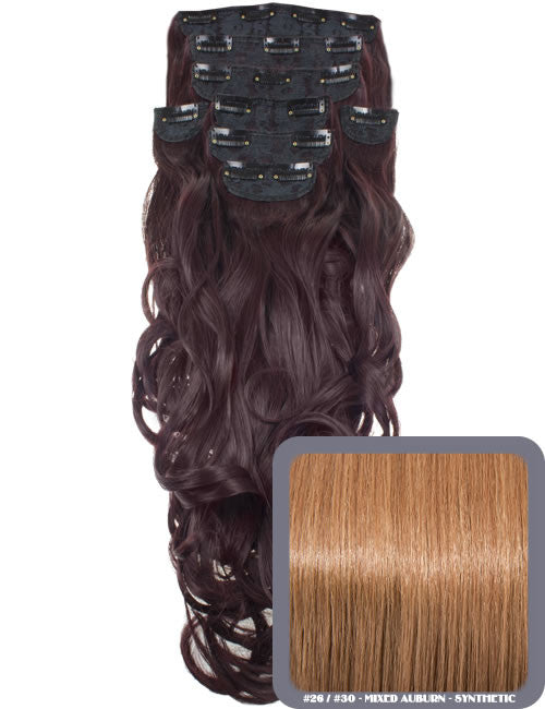 "20"" Heat Resistant Synthetic Full Head Clip In Extensions (Curly) in Mixed Auburn #26/30"