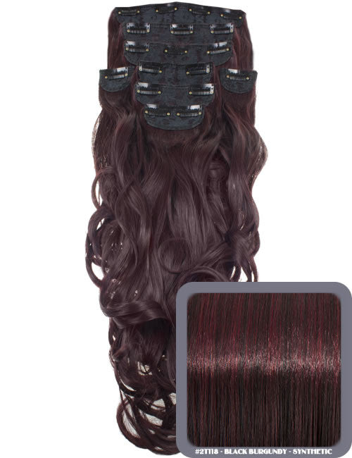 "20"" Heat Resistant Synthetic Full Head Clip In Extensions (Curly) in Burgundy #118"