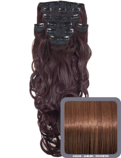 "20"" Heat Resistant Synthetic Full Head Clip In Extensions (Curly) in Auburn #33/30"