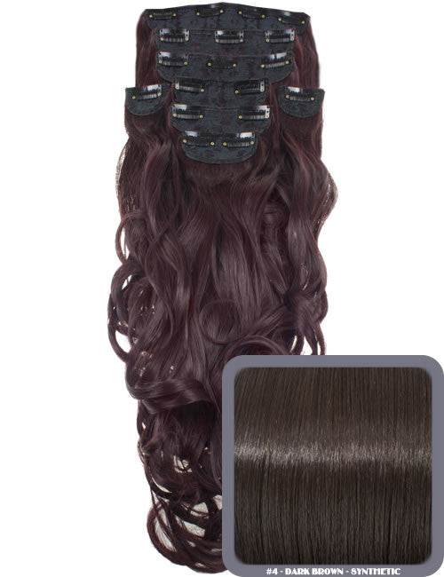 "20"" Heat Resistant Synthetic Full Head Clip In Extensions (Curly) in Dark Brown #4"