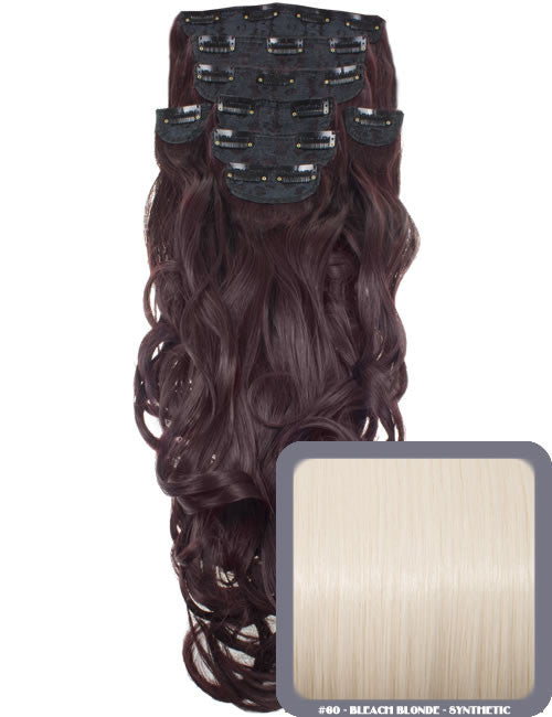 "20"" Heat Resistant Synthetic Full Head Clip In Extensions (Curly) in Bleach Blonde #60"