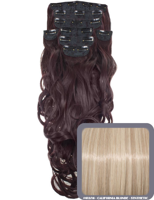 "20"" Heat Resistant Synthetic Full Head Clip In Extensions (Curly) in California Blonde #613/16"