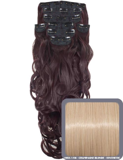 "20"" Heat Resistant Synthetic Full Head Clip In Extensions (Curly) in Champagne Blonde #613/18"