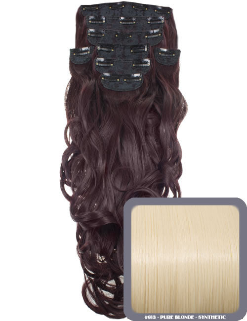 "20"" Heat Resistant Synthetic Full Head Clip In Extensions (Curly) in Pure Blonde - #613"