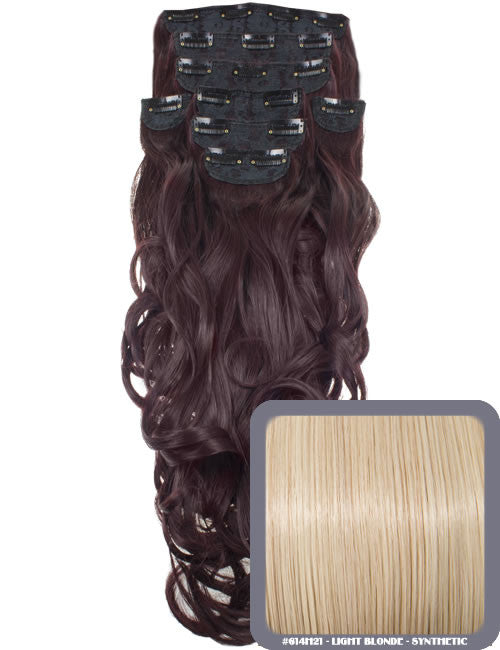 "20"" Heat Resistant Synthetic Full Head Clip In Extensions (Curly) in Light Blonde #614H21"