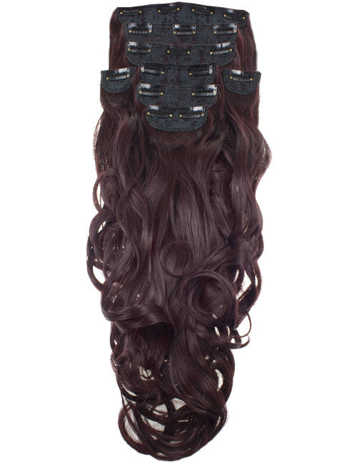 "20"" Heat Resistant Synthetic Full Head Clip In Extensions (Curly) in Black & Burgundy #2T118"