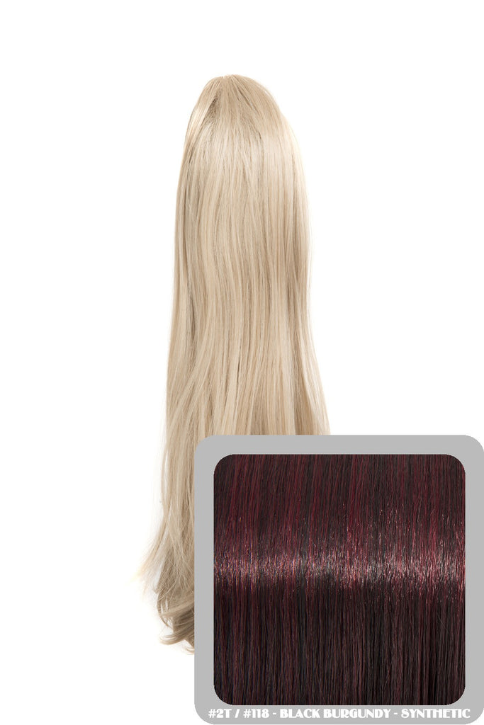 Tulip Long Straight Synthetic Ponytail in #2T118 Black & Burgundy