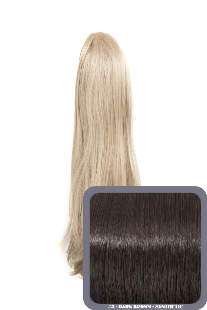 Tulip Long Straight Synthetic Ponytail in #4 Dark Brown