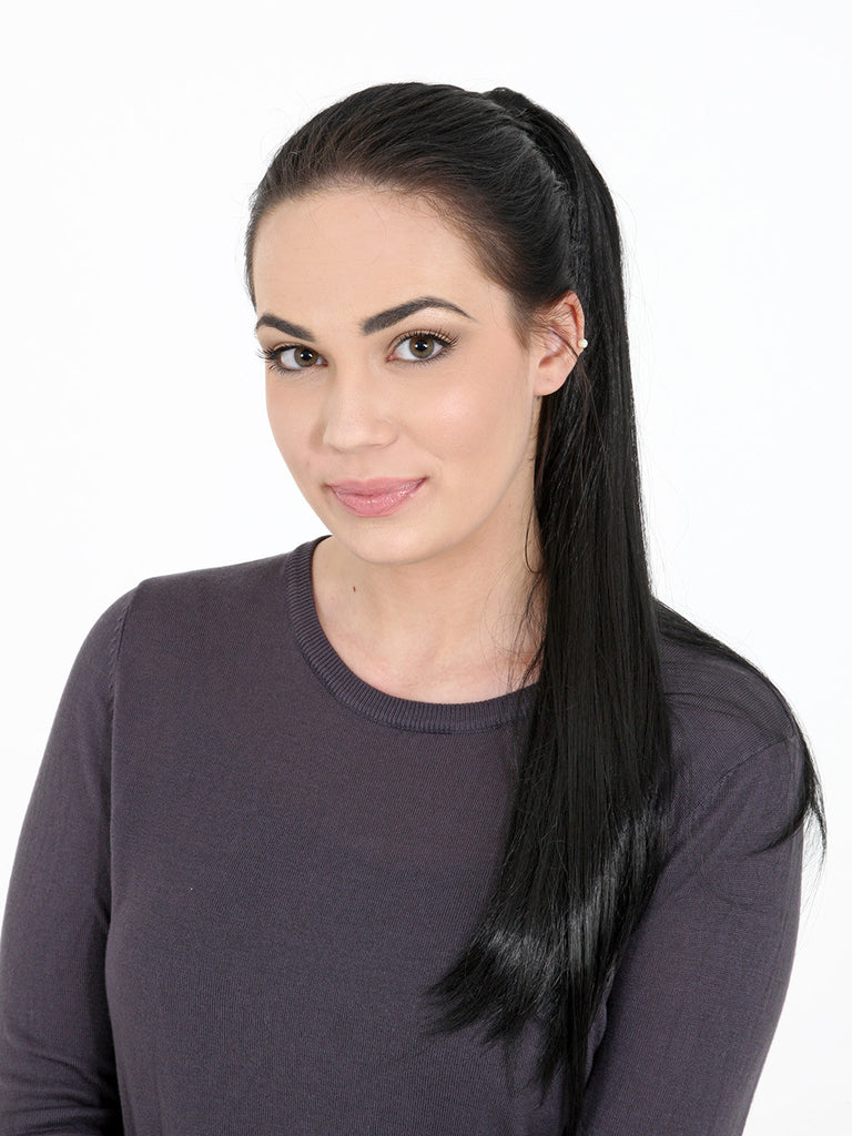 Tulip Long Straight Synthetic Ponytail in #6 Chocolate Brown