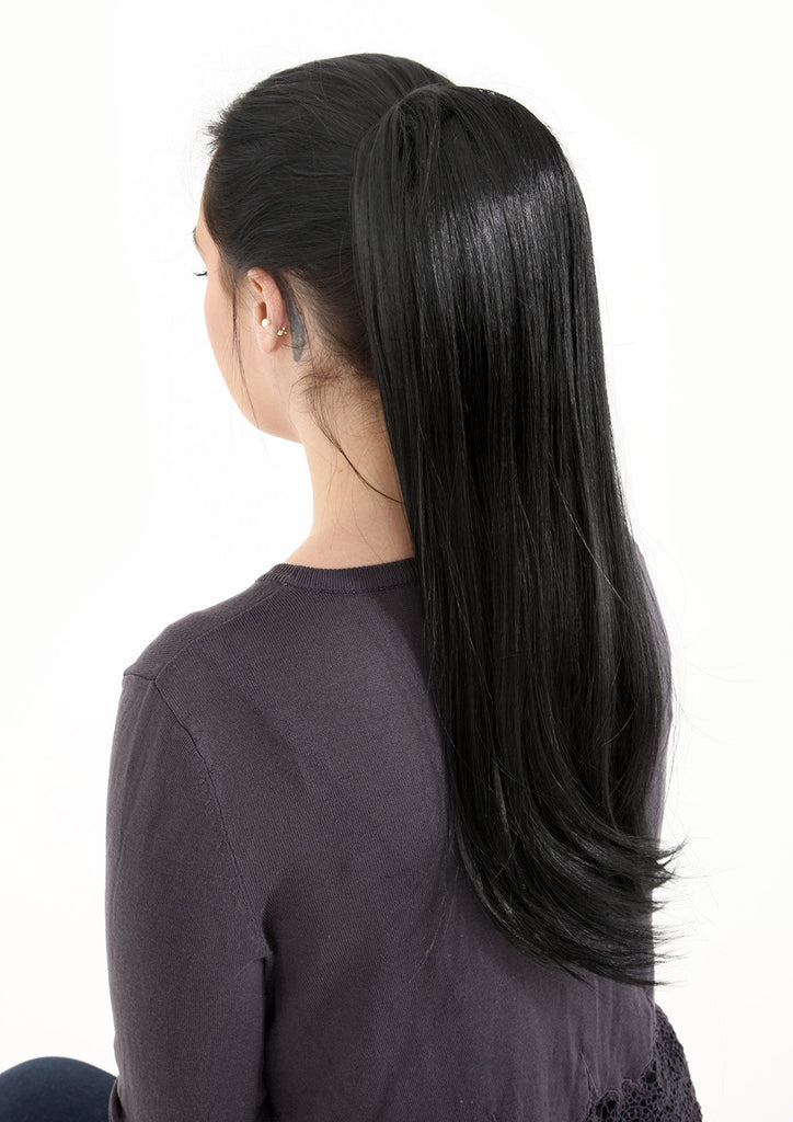 Tulip Long Straight Synthetic Ponytail in #4/27 Dark Brown & Caramel