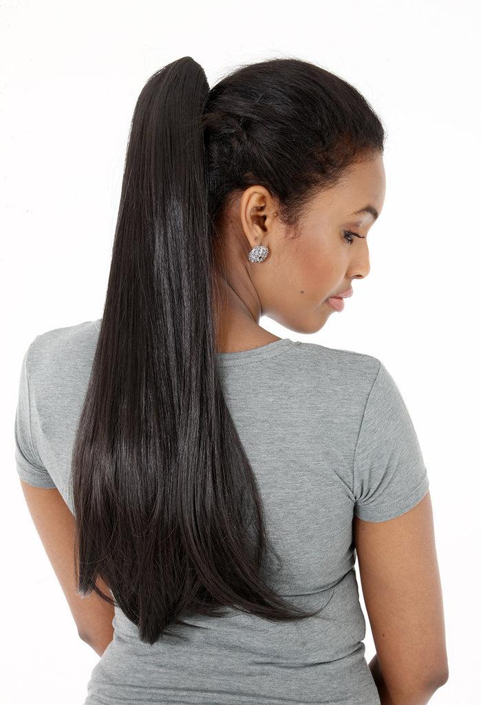 Tulip Long Straight Synthetic Ponytail in #2 Darkest Brown